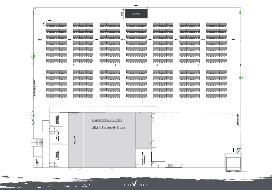 Link to variations of theatre style floor plans at The Venue Alexandria