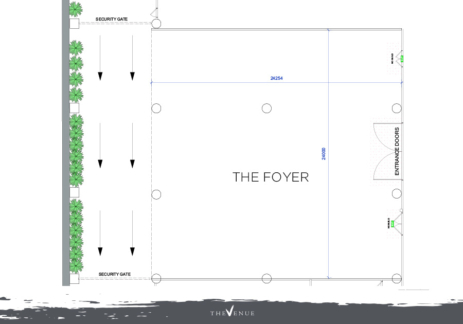 Individual floor plan of The Foyer space at The Venue Alexandria