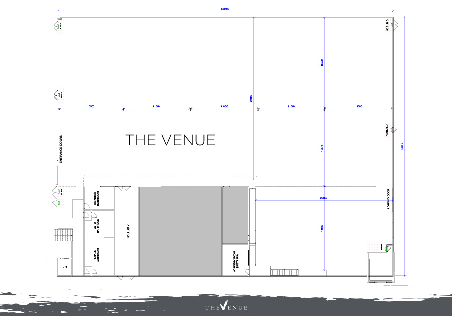 Shows an individual floor plan of The Venue space at The Venue Alexandria