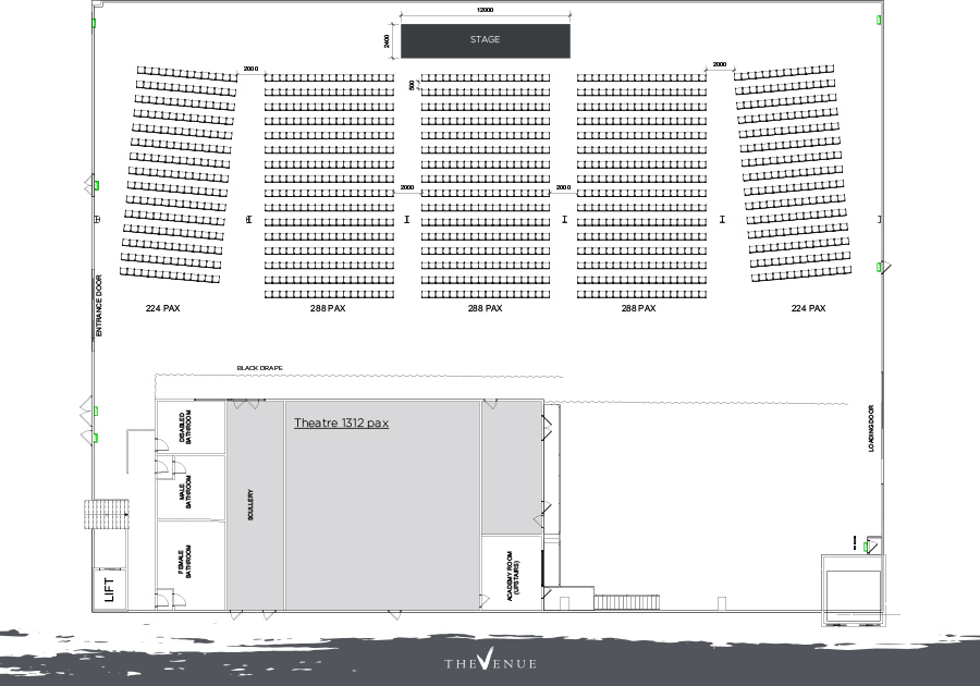 Variations of theatre style seating arrangements for The Venue Alexandria
